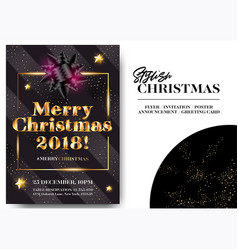 merry christmas 2018 stylish black greeting card vector image