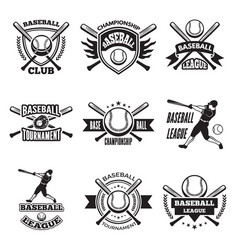 Monochrome labels or emblem for baseball club vector