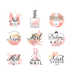 Nail studio logo design set creative templates vector