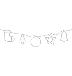 one line christmas decoration set continuous line vector image