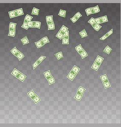 paper money falling on a vector image