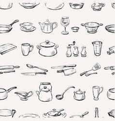 pattern kitchenware vector image