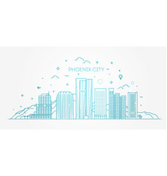 phoenix skyline detailed silhouette vector image