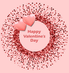 pink sequins round frame with hearts happy vector image