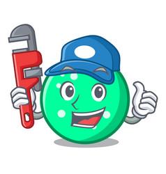 Plumber circle mascot cartoon style vector