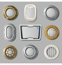 Portholes Of Various Shape Realistic Set vector