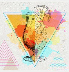 realistic and polygonal cocktail tequila sunrise vector image