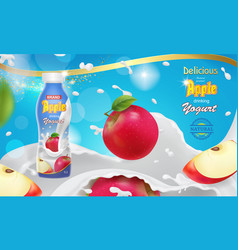 red apple falling into yogurt advertising vector image