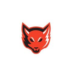 Red fox head front vector