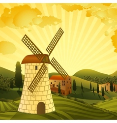 Rural landscape with a mill vector
