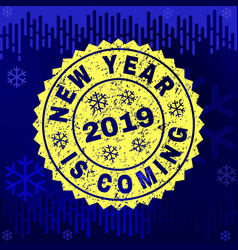 scratched new year is coming stamp seal on winter vector image
