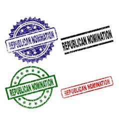 Scratched textured republican nomination stamp vector