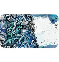 Sea life hand drawn doodle banner cartoon vector