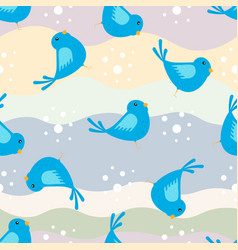 seamless pattern with funny blue bird on colorful vector image