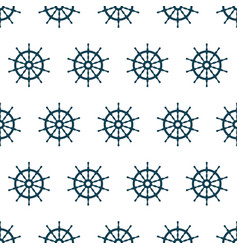 seamless pattern with steering wheel of ship vector image