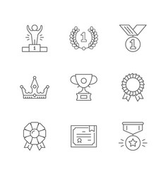 set line icons award vector image
