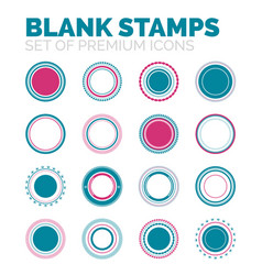 Set of blank round stamps collection vector