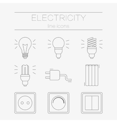 Set of electricity icons including tools vector