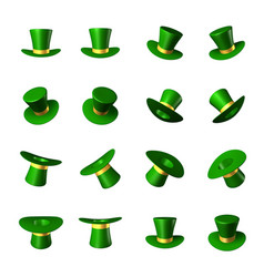Set of green hat with a gold ribbon cylinder vector