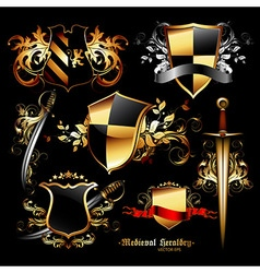 Set of medieval elements vector