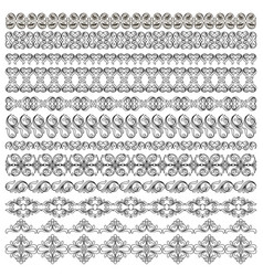 Set of symmetrical black pattern border plant vector