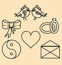 set valentines day design elements of the outline vector image