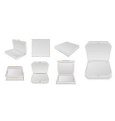 set various pizza box cardboard or mock up vector image