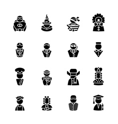 sixteen human black silhouettes isolated on white vector image