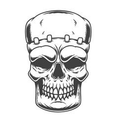 skull frankenstein monster in engraving vector image