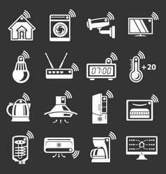Smart home icons set grey vector