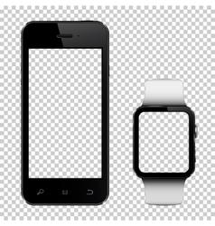 Smart phone and smart watch mockup vector image