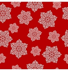 snowflakes seamless on red background vector image