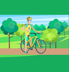 sportsman on bicycle view from right vector image