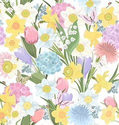 Spring floral design on the white background vector