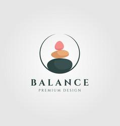 stone balance colorful logo circle design vector image