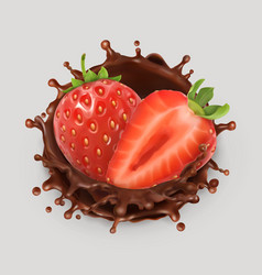strawberry and chocolate splash realistic 3d icon vector image