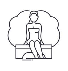 Stream sauna icon linear isolated vector