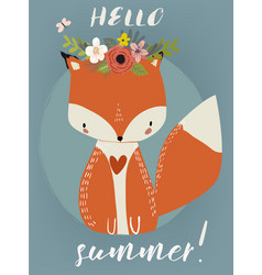 Summer cute fox vector