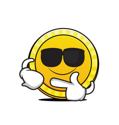 super cool coin cartoon character vector image
