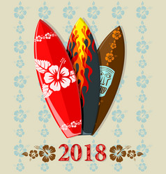 surf boards with 2018 text vector image