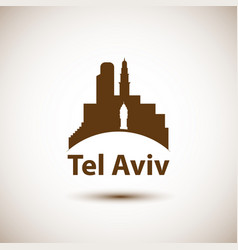 Tel aviv detailed silhouette vector