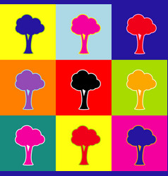 tree sign pop-art style vector image