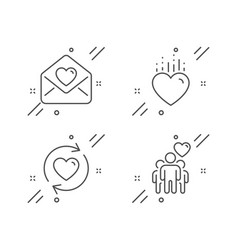 Update relationships heart and love letter icons vector