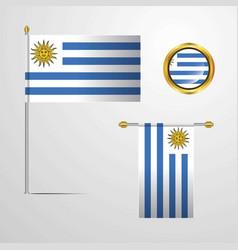 Uruguay waving flag design with badge vector