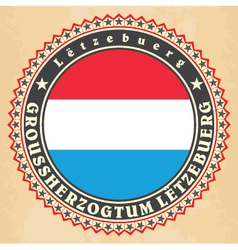 Vintage label cards luxemburg flag vector