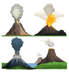 Volcano eruption on white vector