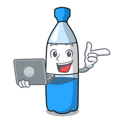 with laptop water bottle character cartoon vector image