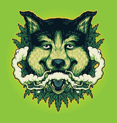 Wolf weed smoking cannabis clouds vector