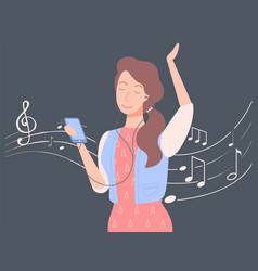 woman listening to music lady with smartphone vector image