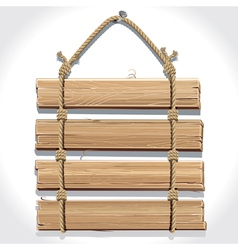 Wooden sign board with rope hanging on a nail vector image